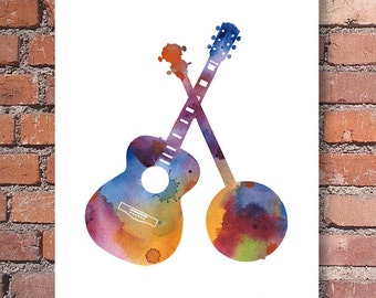 Banjo Guitar Art Print - Abstract Watercolor Painting - Bluegrass Music Wall Decor