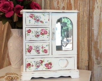 Jewelry box, shabby chic, white w/ roses, armoire, cottage style organizer