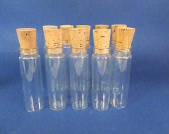 Set of 10 Small Corked Bottles - Small Display Glass Bottles