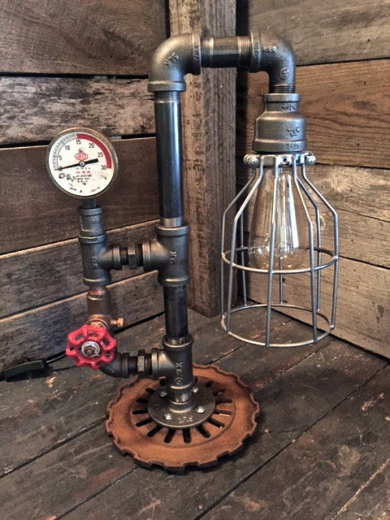 Items Similar To Steampunk Lamp With Guard And Edison Bulb