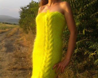 New Hand Knitted Mohair  Sexy Dress,Neon Yellow,Handmade Long Sweater,S-M-L