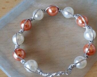 Aluminum, beaded bracelet