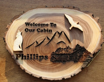 """Welcome To Our Cabin 9"""" Cabin Log Sign With Animals"""