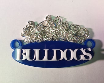 Bulldogs School Spirit Mascot Necklace with Silver Plated Chain and Choice of Colors