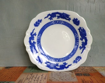 Coalport Plate - Blue and White Transfer ware Serving or Sandwich Plate