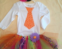 Baby or Toddler Clown Costume with body suit/t-shirt, tutu and hairbow
