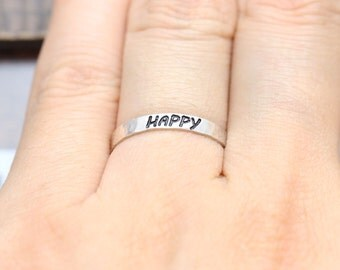 925 sterling silver hammered happy band ring (WPR_00011)