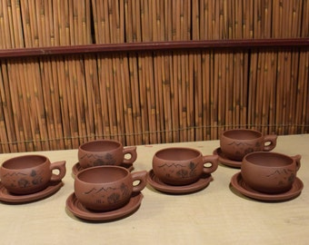 Chinese Clay Gong Fu Set of 6 Tea Cups and Saucers