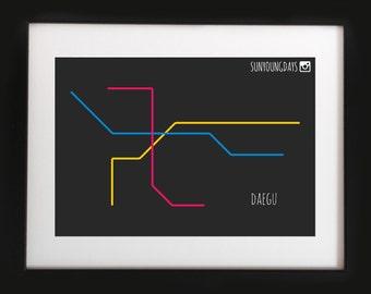daegu metro line map postcard 4'X6'
