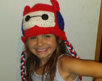 Crochet Baymax Hat with ear flaps