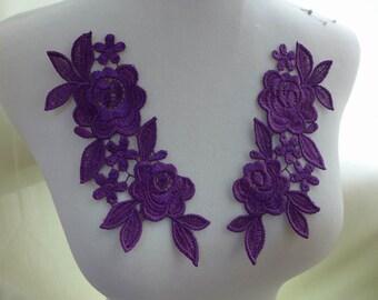 Venice lace applique, purple lace applique, purple flower lace