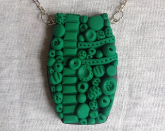 Polymer clay green statement doodle necklace