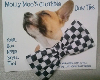 Small Checkered Collar Bow Tie
