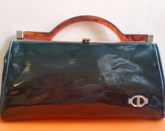 Vintage Black Patent Leather Handbag Great Tortoise Handle