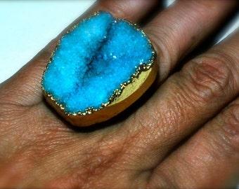 Blue druzy robins egg blue crystal drusy statement ring size 6
