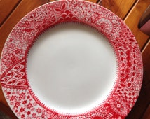Hand Painted Artwork on Porcelain Plate /Red/White/Zentangle Design