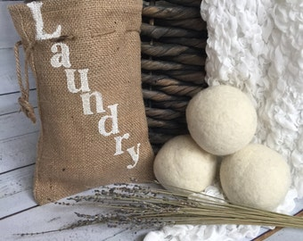 3 Jumbo Wool Dryer Balls with Custom Burlap Bag