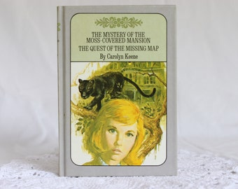 Nancy Drew, The Mystery of the Moss-Covered Mansion / The Quest of the Missing Map, Twin Thriller Nancy Drew Book,  Vintage Nancy Drew Book
