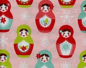 Merry Matryoshka Nesting Dolls Riley Blake Cotton Fabric C4380 Pink, By the Yard