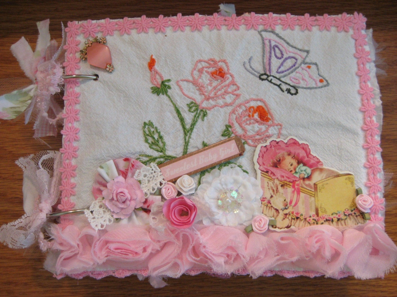 Vintage baby girl scrapbook vintage fabric covered baby book for Retro baby fabric