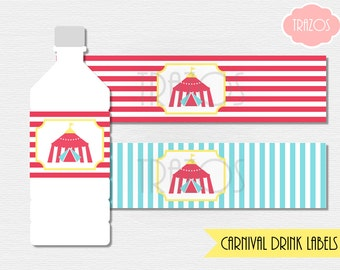 Carnival Water Labels - Printable Drink Labels  (INSTANT DOWNLOAD)