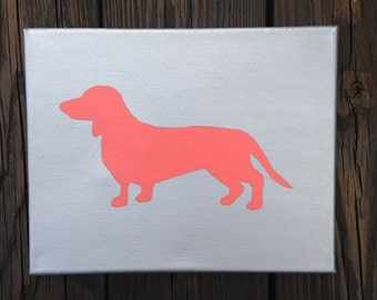 Silver and Coral Dachshund Canvas