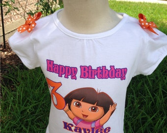 Dora the explorer birthday shirt-birthday shirt-Dora the explorer shirt-Personalized  shirt-Birthday Dora Shirt