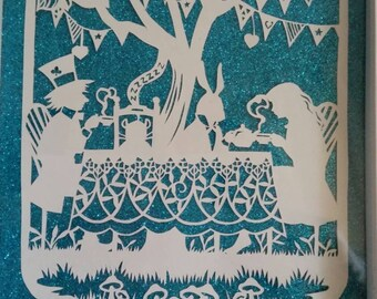 Mad Hatter's teaparty - Alice's adventures in wonderland paper cut - Handcut - Framed.