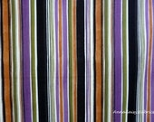 Striped Halloween Fabric, Black Cat Crossing 7975 Seen On Halloween, Maywood Studios, Black, Orange, Purple Stripe Quilt Fabric, Cotton