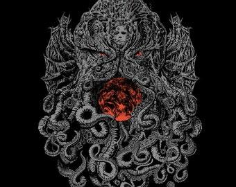 Cthulhu World -Detailed Cthulhu illustration on a t-shirt