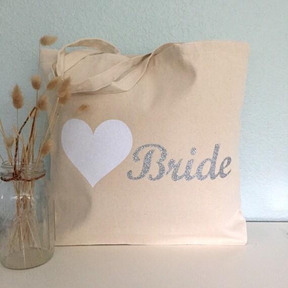Bride And Heart Tote Bag Purse Beach Bag Wedding Tote Or
