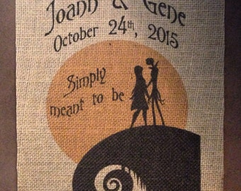 Nightmare Before Christmas Wedding - Jack & Sally - Personalized  - Anniversary - Simply meant to be - Names - Date - Burlap Print