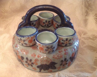 Ceramic pottery egg cups with holder, Ironstone egg cups with holder, egg cup carrier, brunch egg cups