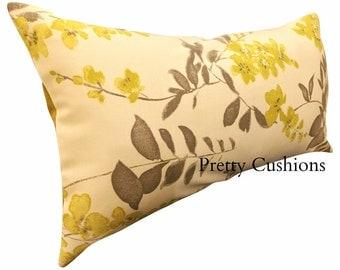 Sanderson Wisteria Blossom Yellow & Silver Bolster Cushion Cover