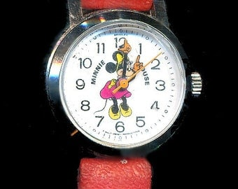 Vintage Wind-Up Minnie Mouse Bradley Watch