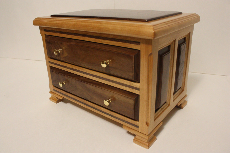 Large handmade drawer wood box walnut and red birch valet