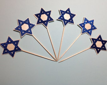 Star of David Cupcake Toppers (Star of David, Religious Celebration, Cupcake Topper, Party)