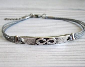 Men's Silver Infinity Bracelet - Men's Gray Cord Bracelet - Mens Bracelet - Men's Jewelry - Adjustable Men Bracelet - Gift for Him