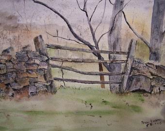 """watercolor painting, art farms and lands, original,""""FOUR RAIL FENCE"""", 14""""w x 10""""h,rock fence, split rail fence, pastures, farms, art sale"""