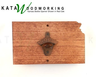 Kansas Shaped Wood Cut-out Bottle Opener - Wall Mount - Handmade!