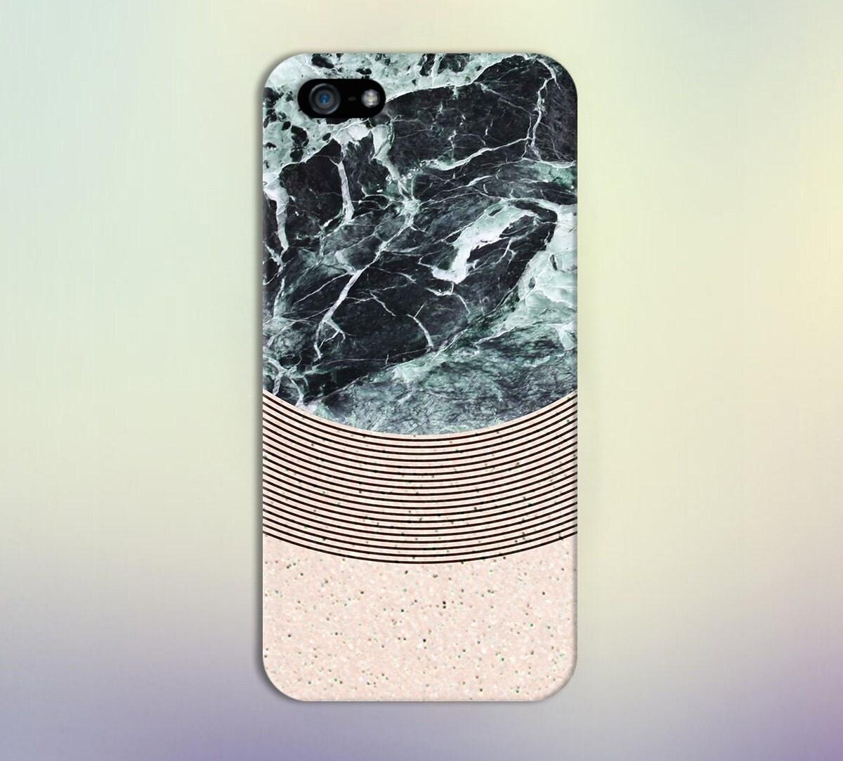 Geometric Black Marble X Pink Granite Phone Case For