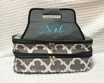 Geometric/Quatrefoil Casserole Carrier insulated with Double compartment FREE Monogram or Name - Great for Brides, Housewarming or Christmas