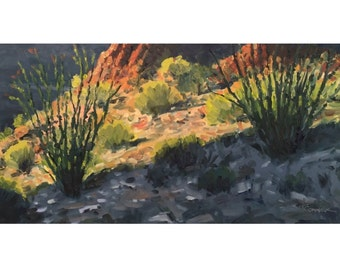Desert Sunrise 8x16 Landscape Oil Painting