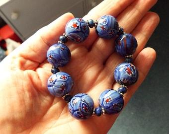Chunky Blue Millefiori Stretch Bracelet