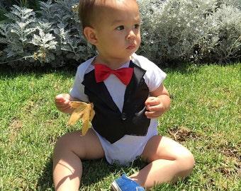 Baby Boy BlackTuxedo Vest Onesie Bodysuit with Red Bowtie & Cape(Option) Photo props