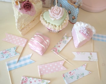 Vintage Shabby Chic x20 Floral Polka Dot Gingham Cath Kidston Cupcake Toppers Flag Picks Baby Shower Party Birthday Wedding