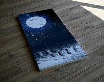 Large Moon Print, Moon Canvas Art Print, Full Moon, Art Print, Celestial Print, Celestial Art, Planet Art, Wall Art, Star