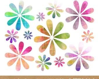 Watercolor Flowers Clip Art, Digital Clip Art, Watercolor Flower Blossoms,  Flowers Clip Art, Digital Graphic Set, Instant Download- CL04
