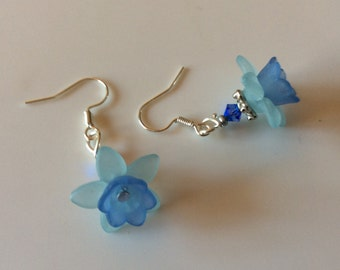 Lucite flowers earrings with swarovski beads - Handmade - Womens Jewelry