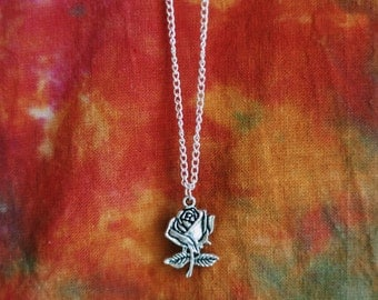 Single Rose Silver Plated Necklace
